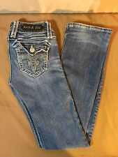 Rock Revival Jeans Debbie Boot Sz 25 Inseam 32 Bling on Pockets O29