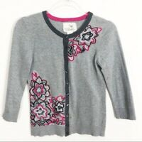WOMEN'S TABITHA ANTHROPOLOGIE GRAY EMBROIDERED CARDIGAN SWEATER SZ XS