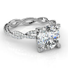 3.25Ct White Round Cut Diamond Engagement Wedding Certified 14K White Gold Ring.