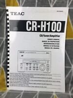 Owner User Manual Booklet ONLY for TEAC CR-H100 CD Tuner Amplifier