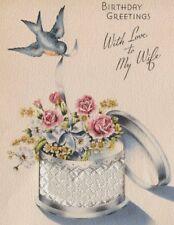 VTG 1940'S SILVER FOIL BLUE BIRD FLOWER HAT BOX BIRTHDAY GREETING CARD