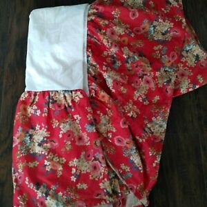 GORGEOUS Ralph Lauren Bedskirt - Madeline Red Floral - Cotton King Cottage Nice