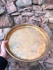 MOROCCAN BERBERE TRAY VINTAGE, Handmade, Antic, Wavy edge, Round, Copper, Brass