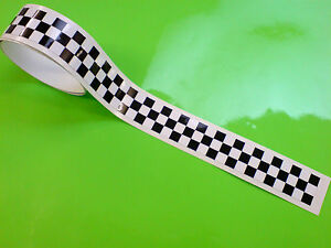 """CHEQUERED TAPE 50"""" x 1"""" Strip LAMINATED for extra durability Scooter Mods 1 off"""