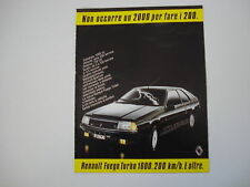 advertising Pubblicità 1983 RENAULT FUEGO TURBO 1600