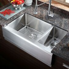 "AZ203 - 33"" Stainless Steel Double Bowl Farmhouse Apron Kitchen Sink COMBO"