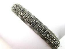 Vintage Signed AUSTRIA Smokey Grey Rhinestone Silver Tone Mesh Bracelet