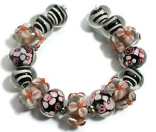 Lampwork Glass Beads Handmade Amethyst Pink Orange Flower Loose Spacer Rondelle