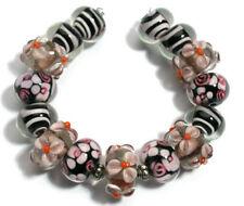 Lampwork Glass Beads Handmade Amethyst Pink Orange Flower Loose Spacer Rondelle