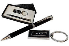 Personalised Fathers Day Present Gift Engraved Pen & Dad Keyring Set,Daddy Gift