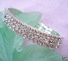 Diamonte / Diamante Clear Crystal 3 Row Stretchy Bracelet - NEW!!