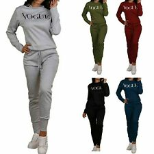 Women's Ladies Long Sleeve VOGUE Print Top Bottom Loungewear Tracksuit Set UK
