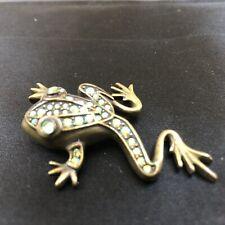 Kirks Folly Green Frog Crystal Enamel Brooch/Pendant