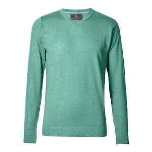 Marks&Spencer T303535M M&S Turquoise Extra Fine Merino Wool V Neck Jumper £35