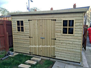 shed pent garden outdoor workshop tool store heavy duty tanalised