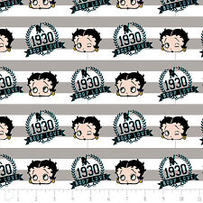Red White & Betty Boop Stripes Zinc Grey Camelot 100% Cotton Fabric by the yard