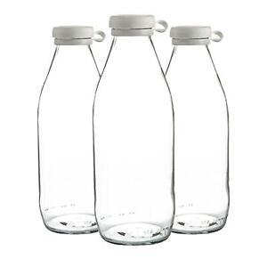 3x Glass Milk Bottles Silicone Lid Large Fridge Storage Carafe Decanter 1 Litre