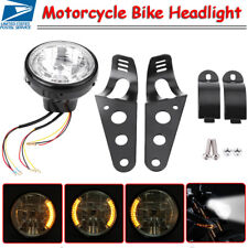 "7"" Universal Motorcycle/Bike Headlight LED Turn Signal Light Black Bracket Mount"