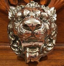 """NEW CHINESE FOO DOG LION HEAD WALL HANGING Shiny Silver Chrome Color 6.5"""""""