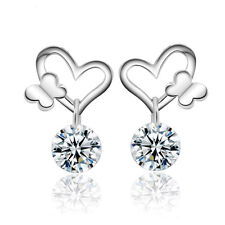 Women's Crystal CZ Drop/Dangle Butterfly Love Silver Plated Stud Earrings
