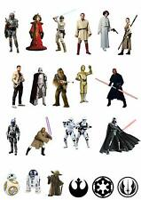 21 Stand Up Star Wars Characters Edible Wafer Paper Cake Toppers Decorations