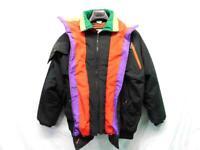 Vintage 80s Prezzia XL Black Purple Yellow Red Green Coat Ski Jacket Womens Zip