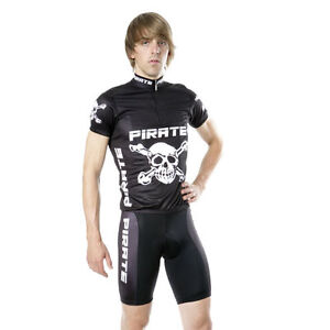PIRATE CYCLING JERSEY BLACK SHORT-SLEEVE