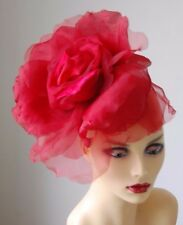 """LARGE 12"""" DIAMETER SILK FLOWER FASCINATOR SCARLET RED BY HATS2GO MADE TO ORDER"""