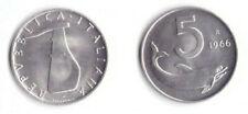 monete italiane 1966 Italia Lire 5 Delfino Fior di Conio Unc perfetta