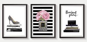 Set of 3 Fashion Art Prints Designer Perfume Bottle logo pink A5 A4 A3 S19