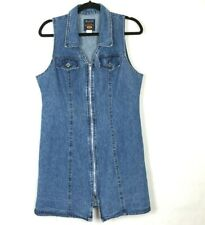 Vintage 80s Route 66 Denim Dress Sleeveless Zipper Front Made In USA 12