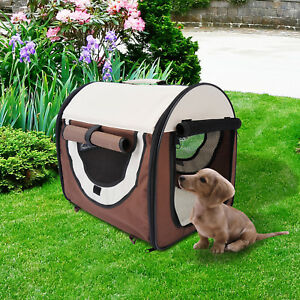 Folding Fabric Soft Pet Crate Dog Cat Travel Carrier Cage Kennel House Brown