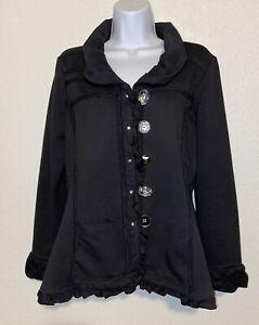 Neon Buddha Womens Sweatshirt Blazer Jacket Stretch Black Sz M