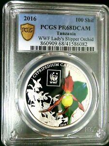 PCGS PR68DCAM GS-Tanzania 2016 Orchid Colorized 100 Shillings Super GEM Proof