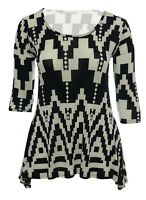 Womens New Black White Aztec Print Dipped Hem Tunic Top Plus Size 12 To 26 BNWT