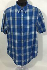 Levi's Authentic Men's Shirt - Blue white Stripes Front Button Short Sleeve - M