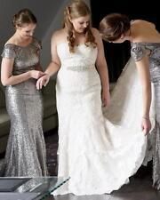 Custom Plus Size Lace Bridal Gown Wedding Dress Free Belt 16-18-20-22-24-26++
