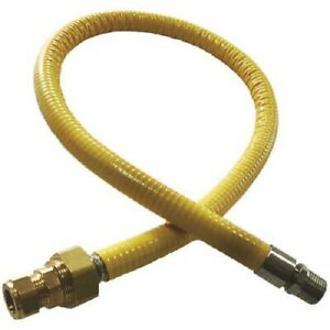 """1/2"""" BSP - 15mm pipe FLEXIBLE 1m YELLOW GAS HOSE FOR OVEN COOKER HOB INSTALLION"""