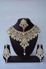 Indian Bollywood Ethnic Bridal White Wedding Fashion Jewelry Necklace Set