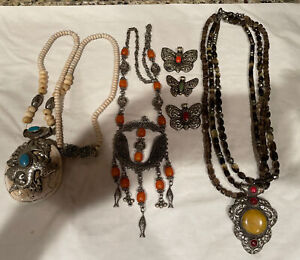 Antique Chinese Export Tibetan Silver Bead Necklace Turquoise Coral Pendant