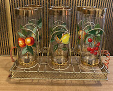 More details for vintage retro drinking glasses with fruit design & gold edge on tray
