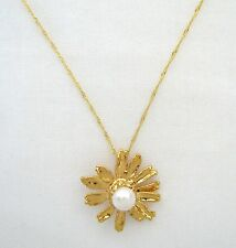 NATURAL REAL GOLD PLATED SUNFLOWER PENDANT+FRESH WATER PEARL CHAIN NECKLACE