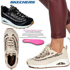 Skechers Womens Uno Wild Streets Leopard Print Panels Memory Foam Wedge Trainer