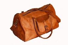 Men's genuine Leather large vintage duffle travel gym weekend overnight bag 20""