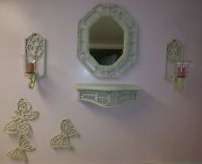 Homco Off White Burwood Forget Me Not Shelf Mirror, Candle Holders, Butterflies