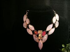 necklace white moonstone ruby 925 Silver Cleopatra cluster bib adjustable