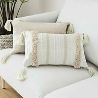 LOMOHOO Modern Pillow Cover Case Simple Tufted Tassel Geometric Knitted