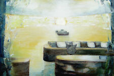 Abstract Oil Painting EncausticTexture Canvas Room of Sunrise Martine LEtoile