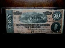 1864 Confederate States of America $10 Note T-68
