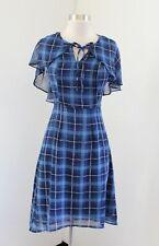 Modcloth Blue Plaid Chiffon Cape A-Line Dress Size XS Retro Vintage Inspired